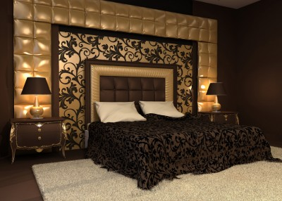 Romantic interior. Double bed in golden luxurious interior. Hote
